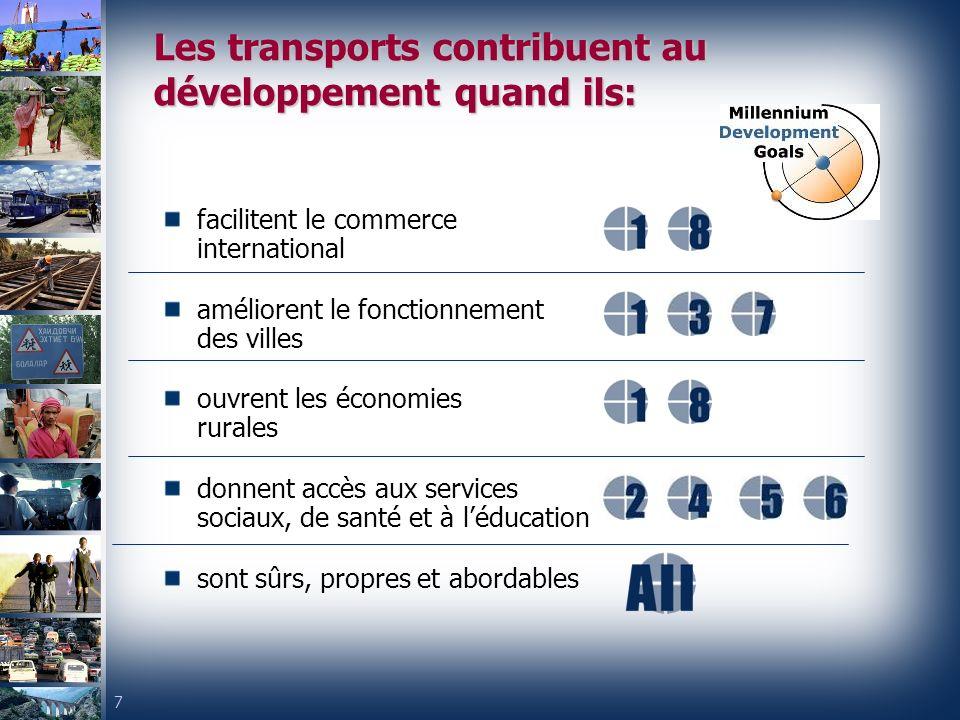7 Les transports contribuent au développement quand ils: facilitent le commerce international améliorent le fonctionnement des villes ouvrent les économies rurales donnent accès aux services sociaux, de santé et à léducation sont sûrs, propres et abordables