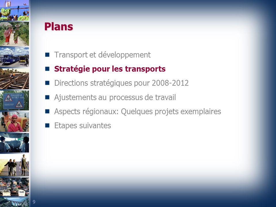 9 Plans Transport et développement Stratégie pour les transports Directions stratégiques pour 2008-2012 Ajustements au processus de travail Aspects régionaux: Quelques projets exemplaires Etapes suivantes
