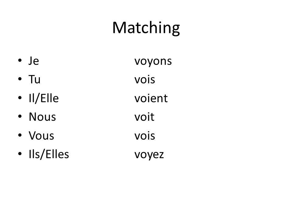 Matching Jevoyons Tuvois Il/Ellevoient Nousvoit Vousvois Ils/Ellesvoyez