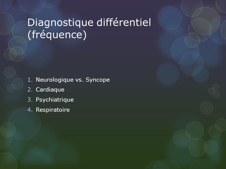 Diagnostique différentiel (fréquence) 1.Neurologique vs. Syncope 2.Cardiaque 3.Psychiatrique 4.Respiratoire