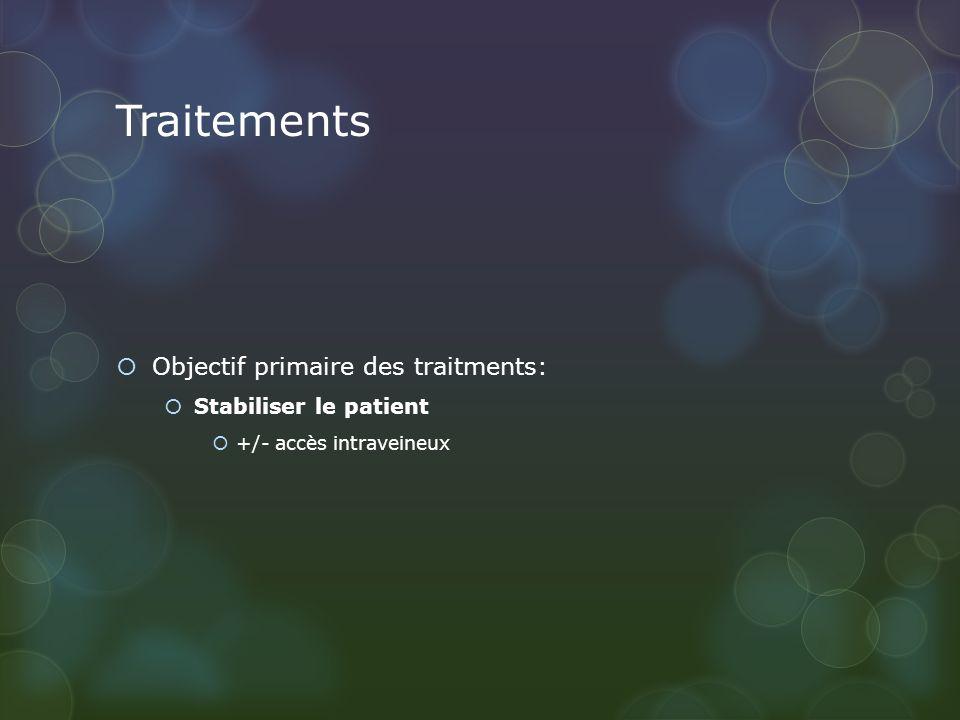 Traitements Objectif primaire des traitments: Stabiliser le patient +/- accès intraveineux