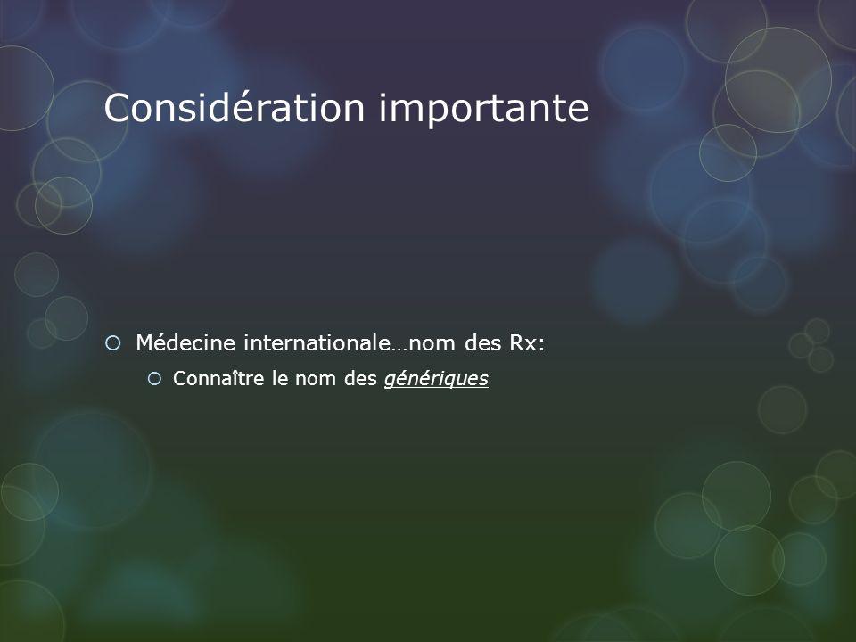 Considération importante Médecine internationale…nom des Rx: Connaître le nom des génériques