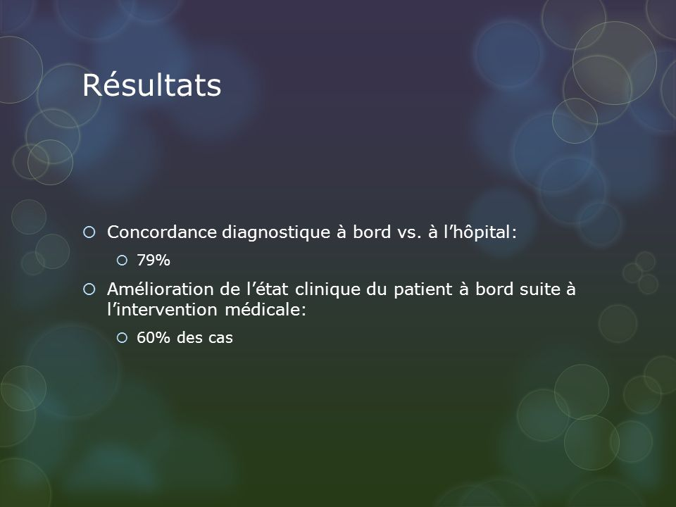 Résultats Concordance diagnostique à bord vs.