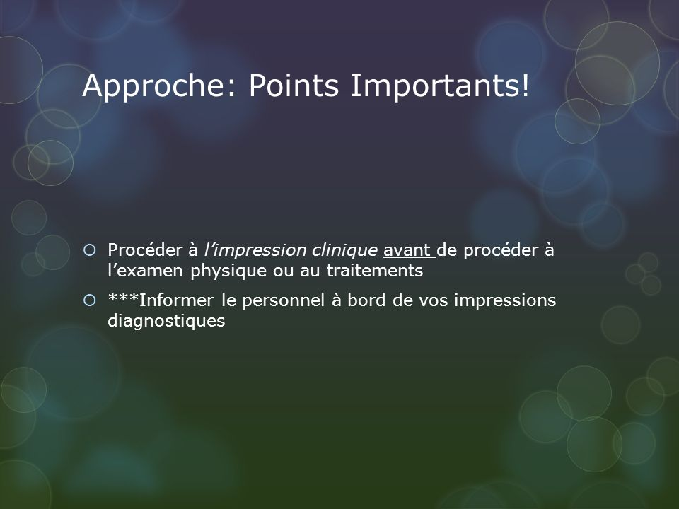 Approche: Points Importants.