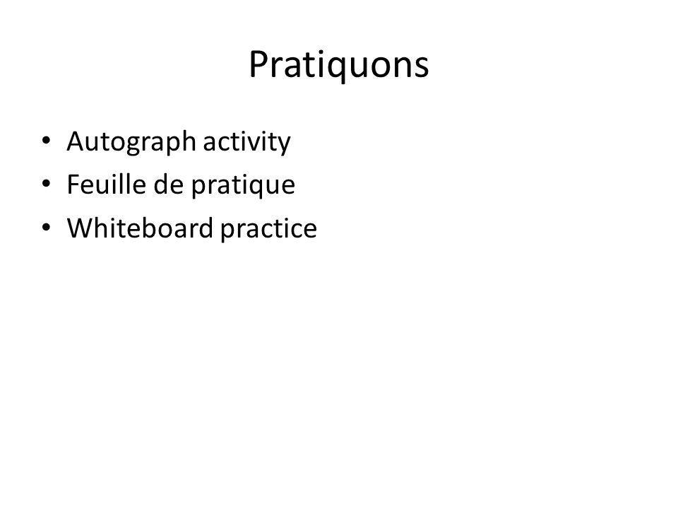 Pratiquons Autograph activity Feuille de pratique Whiteboard practice