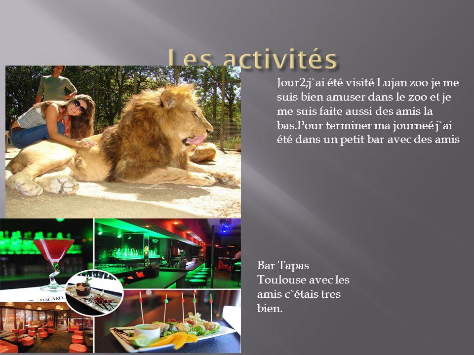 Jour2;j`ai été visité Lujan zoo je me suis bien amuser dans le zoo et je me suis faite aussi des amis la bas.Pour terminer ma journeé j`ai été dans un