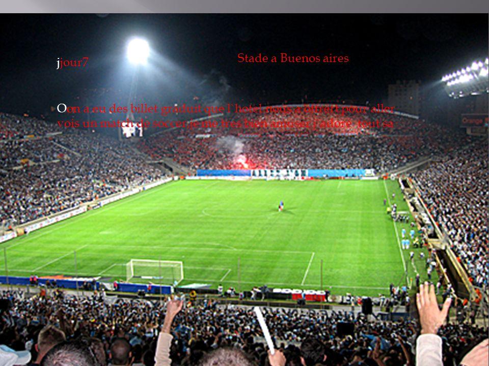 Stade a Buenos aires Oon a eu des billet graduit que l`hotel nous a offrert pour aller vois un match de soccer,je me tres bien amuser j`adoré tout sa