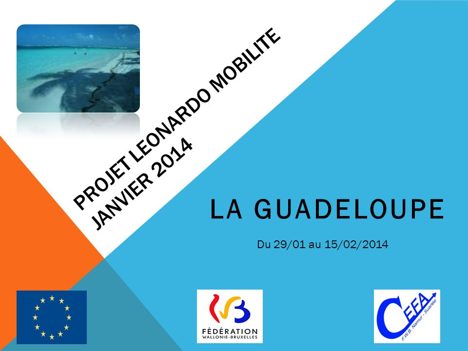 PROJET LEONARDO MOBILITE JANVIER 2014 LA GUADELOUPE Du 29/01 au 15/02/2014