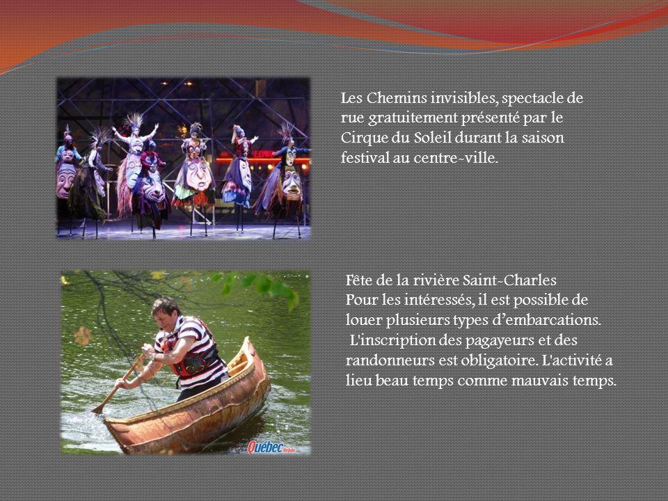 Les Chemins invisibles, spectacle de rue gratuitement présenté par le Cirque du Soleil durant la saison festival au centre-ville.
