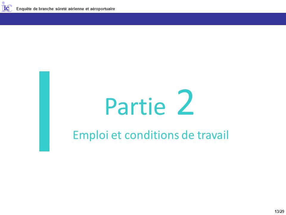 Enquête de branche sûreté aérienne et aéroportuaire 2 ème partie : Emploi et conditions de travail 13/29 Partie 2 Emploi et conditions de travail