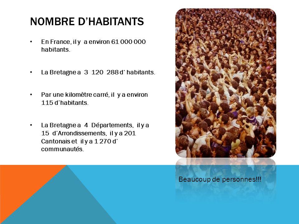 NOMBRE DHABITANTS En France, il y a environ 61 000 000 habitants. La Bretagne a 3 120 288 d habitants. Par une kilomètre carré, il y a environ 115 dha
