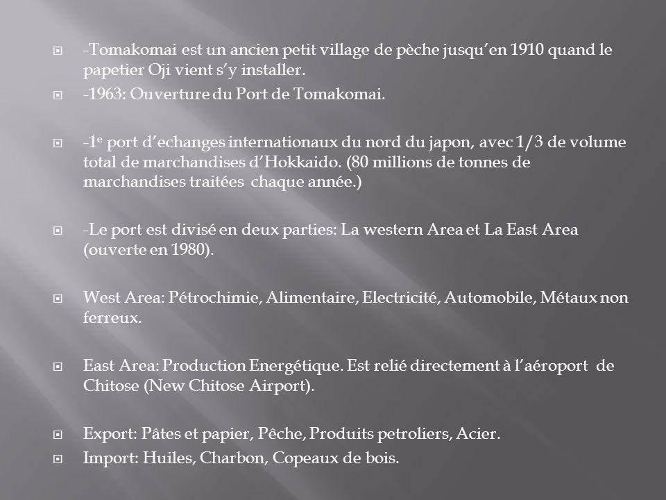 -Tomakomai est un ancien petit village de pèche jusquen 1910 quand le papetier Oji vient sy installer. -1963: Ouverture du Port de Tomakomai. -1 e por