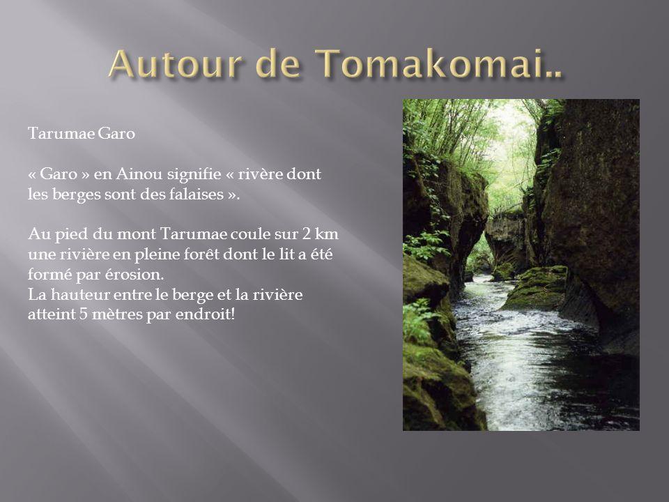 Tarumae Garo « Garo » en Ainou signifie « rivère dont les berges sont des falaises ». Au pied du mont Tarumae coule sur 2 km une rivière en pleine for