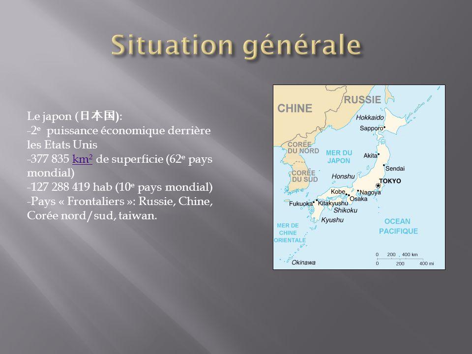 Le japon ( ) : -2 e puissance économique derrière les Etats Unis -377 835 km² de superficie (62 e pays mondial)km² -127 288 419 hab (10 e pays mondial