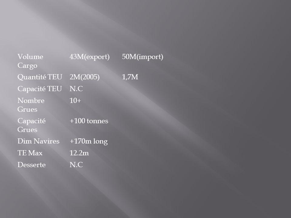 Volume Cargo 43M(export)50M(import) Quantité TEU2M(2005)1,7M Capacité TEUN.C Nombre Grues 10+ Capacité Grues +100 tonnes Dim Navires+170m long TE Max1