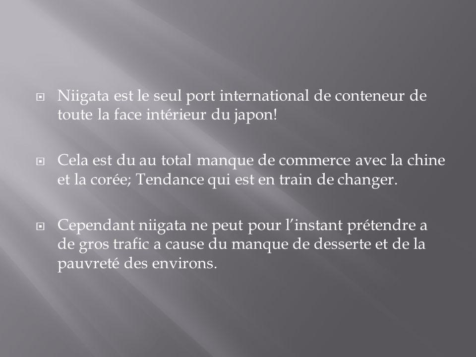 Niigata est le seul port international de conteneur de toute la face intérieur du japon! Cela est du au total manque de commerce avec la chine et la c