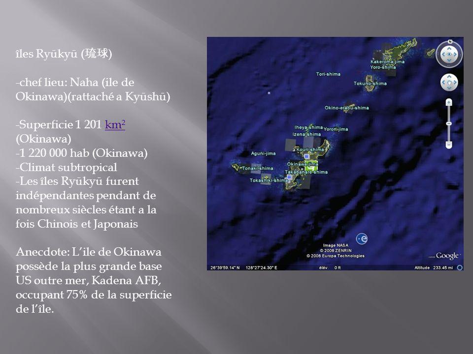 îles Ryūkyū ( ) -chef lieu: Naha (ile de Okinawa)(rattaché a Kyūshū) -Superficie 1 201 km² (Okinawa)km² -1 220 000 hab (Okinawa) -Climat subtropical -