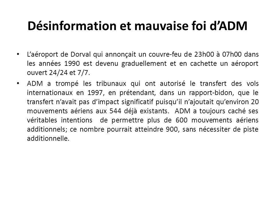 Désinformation et mauvaise foi dADM Laéroport de Dorval qui annonçait un couvre-feu de 23h00 à 07h00 dans les années 1990 est devenu graduellement et en cachette un aéroport ouvert 24/24 et 7/7.