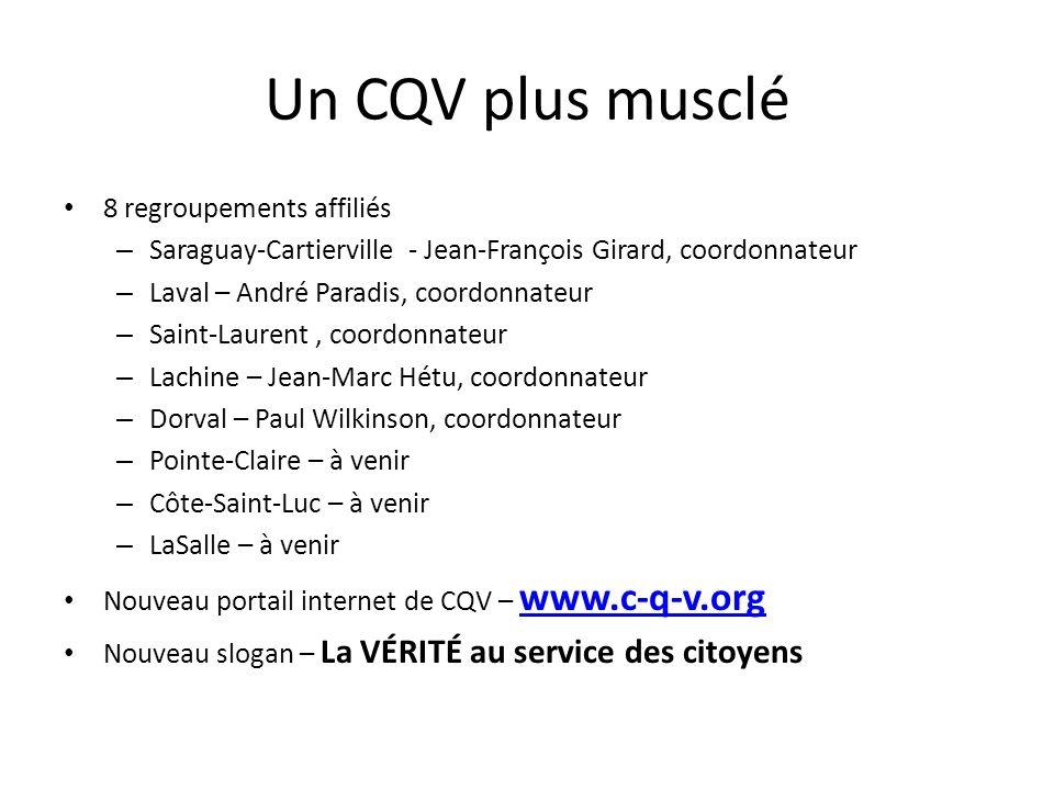 Un CQV plus musclé 8 regroupements affiliés – Saraguay-Cartierville - Jean-François Girard, coordonnateur – Laval – André Paradis, coordonnateur – Sai