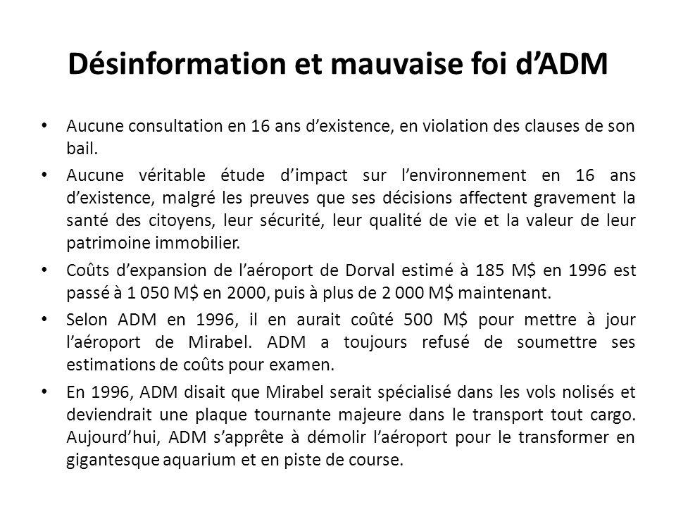 Désinformation et mauvaise foi dADM Aucune consultation en 16 ans dexistence, en violation des clauses de son bail. Aucune véritable étude dimpact sur