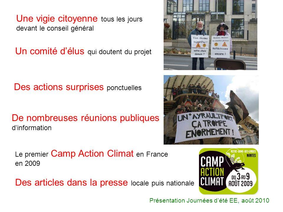 Une vigie citoyenne tous les jours devant le conseil général Le premier Camp Action Climat en France en 2009 Un comité délus qui doutent du projet Des