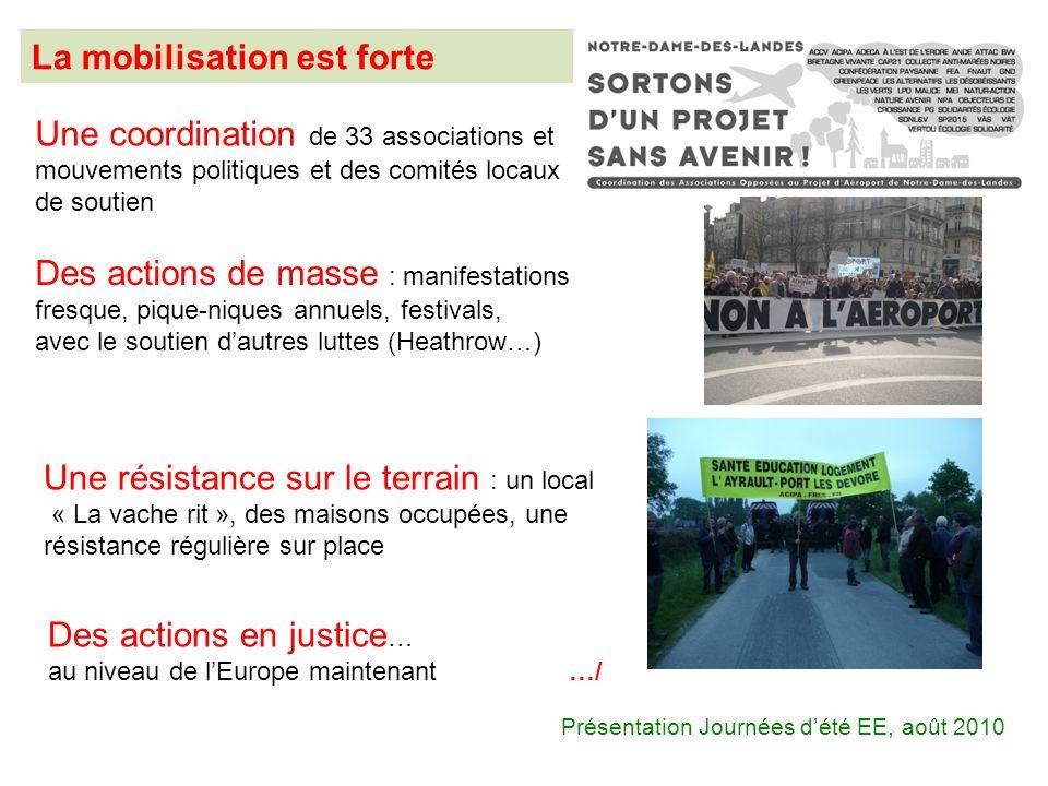 La mobilisation est forte Des actions de masse : manifestations fresque, pique-niques annuels, festivals, avec le soutien dautres luttes (Heathrow…) U