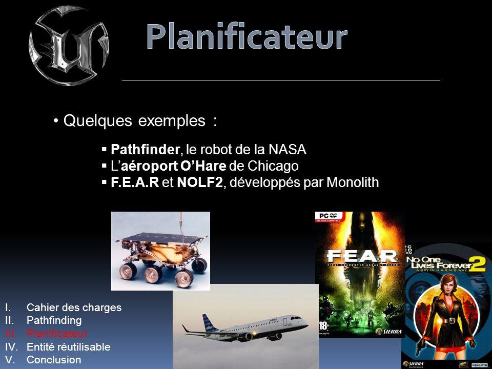 I.Cahier des charges II.Pathfinding III.Planificateur IV.Entité réutilisable V.Conclusion Quelques exemples : Pathfinder, le robot de la NASA Laéropor