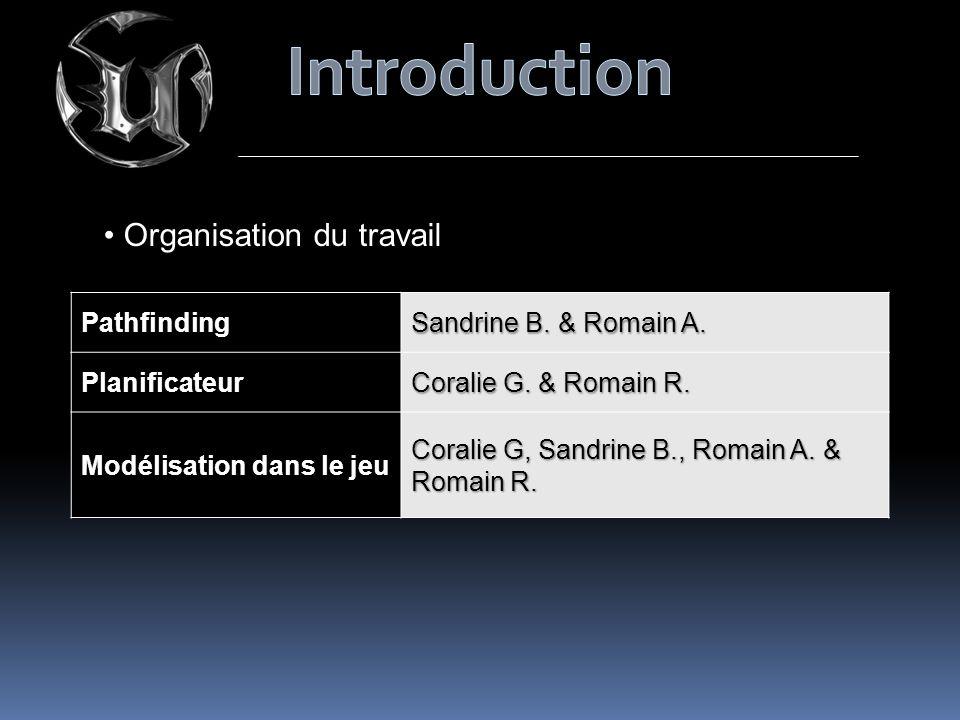 Organisation du travailPathfinding Sandrine B. & Romain A. Planificateur Coralie G. & Romain R. Modélisation dans le jeu Coralie G, Sandrine B., Romai