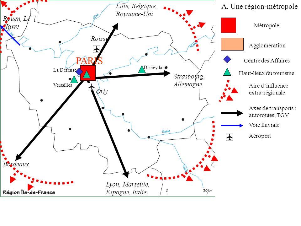 A. Une région-métropole Métropole Agglomération Axes de transports : autoroutes, TGV Lille, Belgique, Royaume-Uni Strasbourg, Allemagne Lyon, Marseill