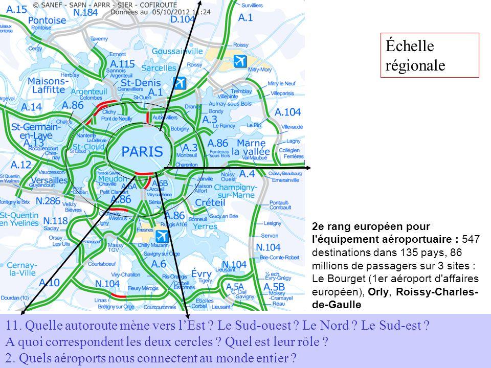 11. Quelle autoroute mène vers lEst ? Le Sud-ouest ? Le Nord ? Le Sud-est ? A quoi correspondent les deux cercles ? Quel est leur rôle ? 2. Quels aéro