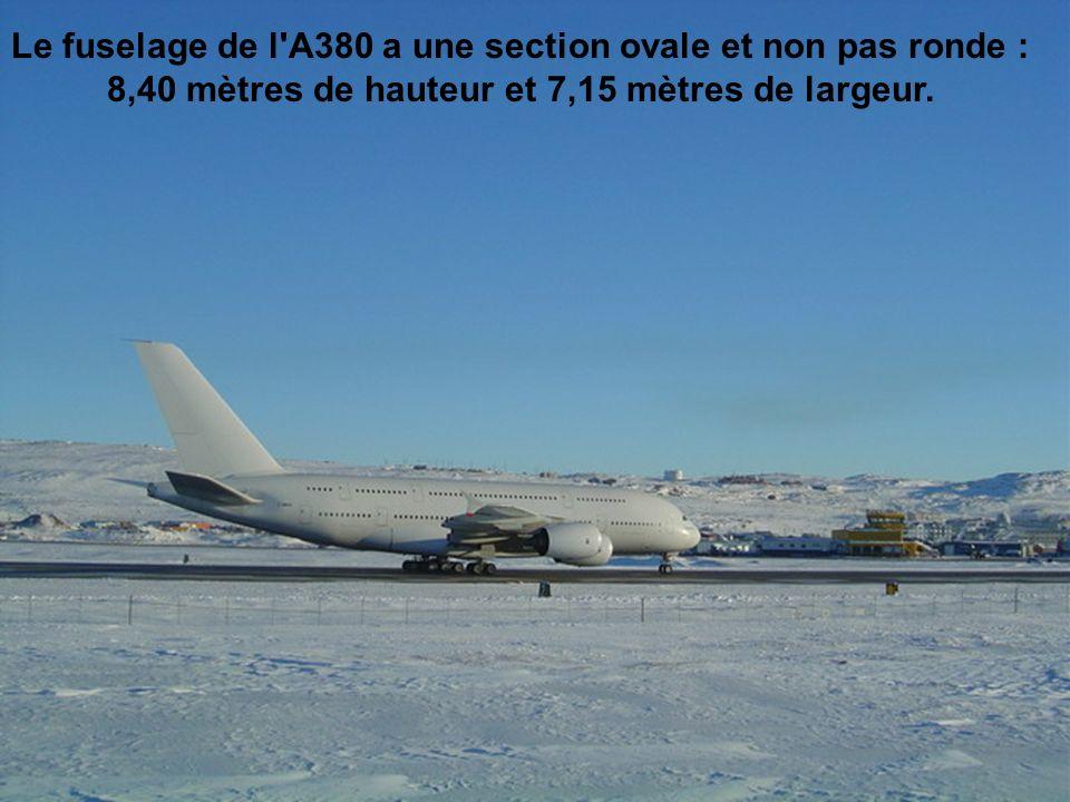 Le fuselage de l A380 a une section ovale et non pas ronde : 8,40 mètres de hauteur et 7,15 mètres de largeur.