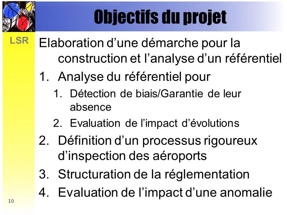 LSR 11 T0+6 Principales activités du projet Identification du problème Identification des types de propriétés Construction dun référentiel UML Etude de limpact des biais détectés Expérimentation, évaluation et extension doutils Définition dune démarche de modélisation et danalyse T0+12T0+36