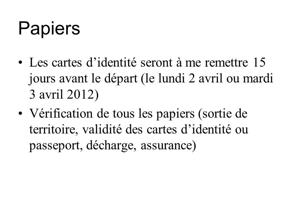Papiers Les cartes didentité seront à me remettre 15 jours avant le départ (le lundi 2 avril ou mardi 3 avril 2012) Vérification de tous les papiers (