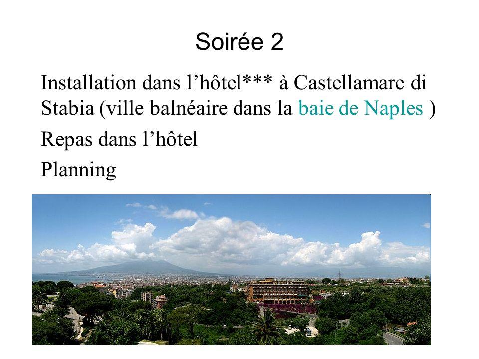 Soirée 2 Installation dans lhôtel*** à Castellamare di Stabia (ville balnéaire dans la baie de Naples ) Repas dans lhôtel Planning