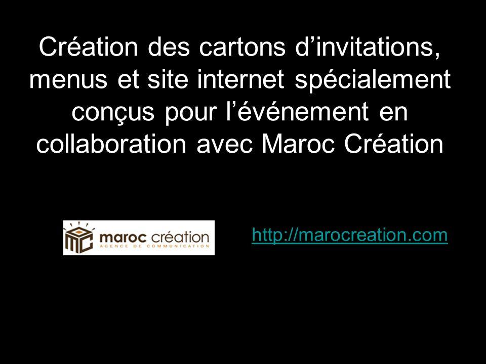 Création des cartons dinvitations, menus et site internet spécialement conçus pour lévénement en collaboration avec Maroc Création http://marocreation