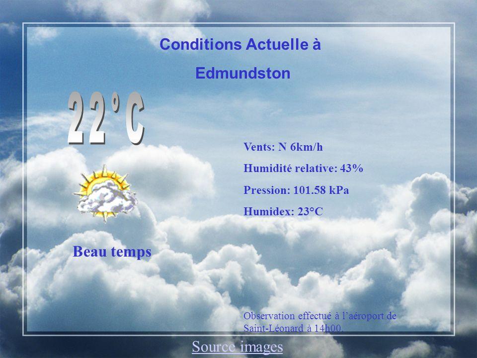 Edmundston, N.-B.Aujourdhui: Beau temps. Préc: 20%.