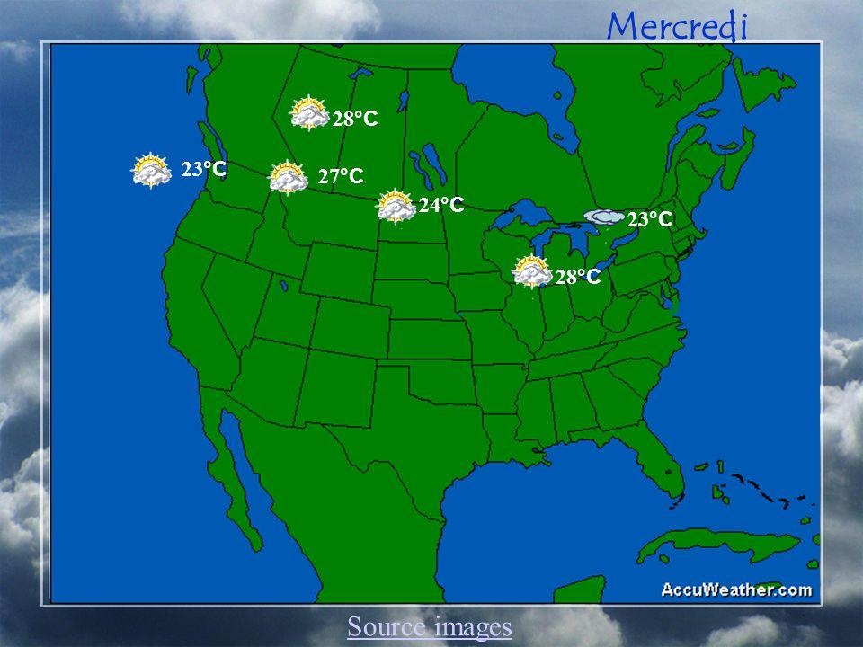 Mercredi 23 °C 28 °C 24 °C 28 °C 27 °C 23 °C Source images