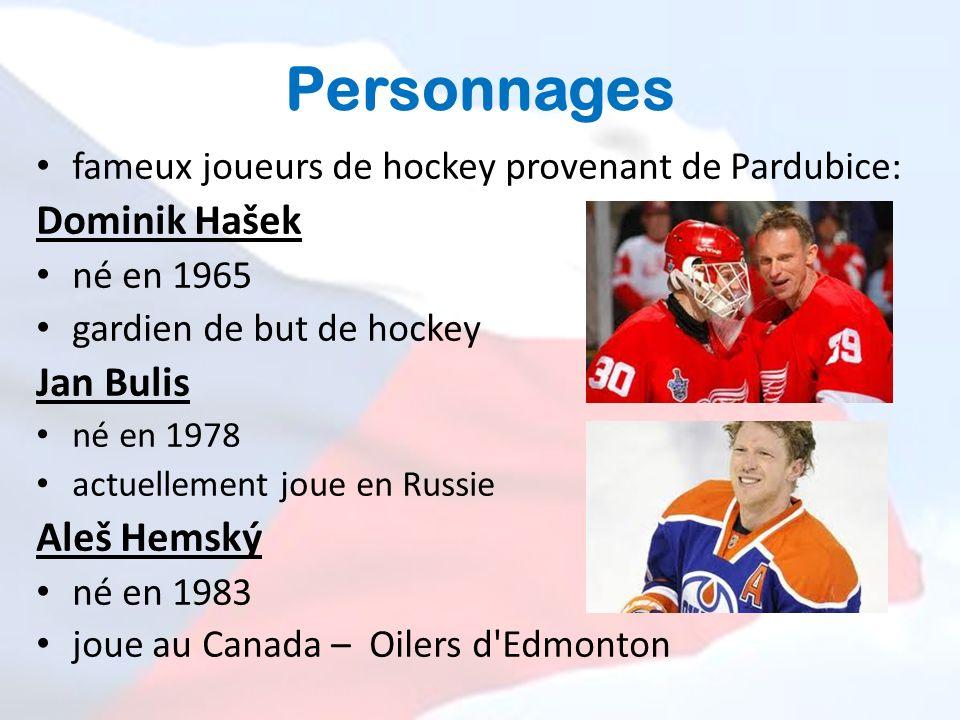 Personnages fameux joueurs de hockey provenant de Pardubice: Dominik Hašek né en 1965 gardien de but de hockey Jan Bulis né en 1978 actuellement joue