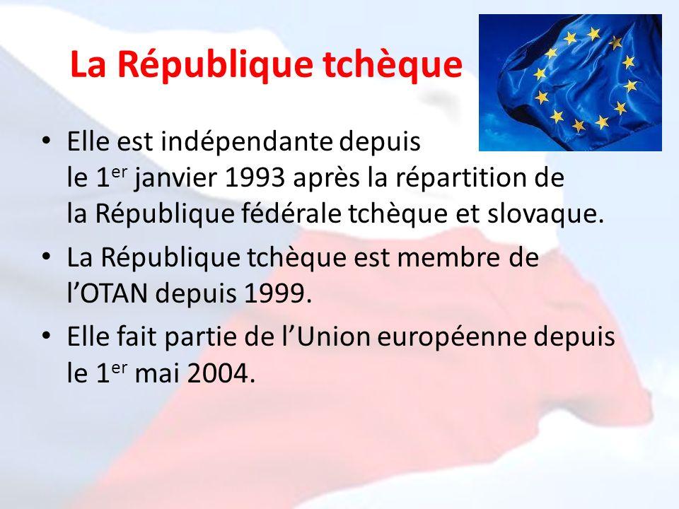 La République tchèque Elle est indépendante depuis le 1 er janvier 1993 après la répartition de la République fédérale tchèque et slovaque. La Républi