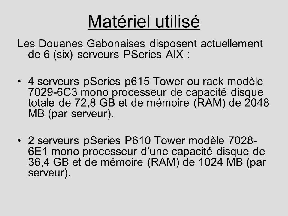 Matériel utilisé Les Douanes Gabonaises disposent actuellement de 6 (six) serveurs PSeries AIX : 4 serveurs pSeries p615 Tower ou rack modèle 7029-6C3 mono processeur de capacité disque totale de 72,8 GB et de mémoire (RAM) de 2048 MB (par serveur).