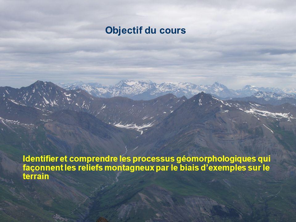 Objectif du cours Identifier et comprendre les processus géomorphologiques qui façonnent les reliefs montagneux par le biais dexemples sur le terrain