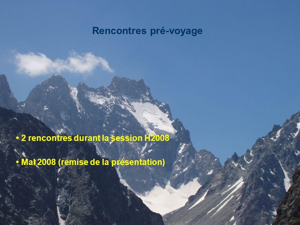 Rencontres pré-voyage 2 rencontres durant la session H2008 Mai 2008 (remise de la présentation)