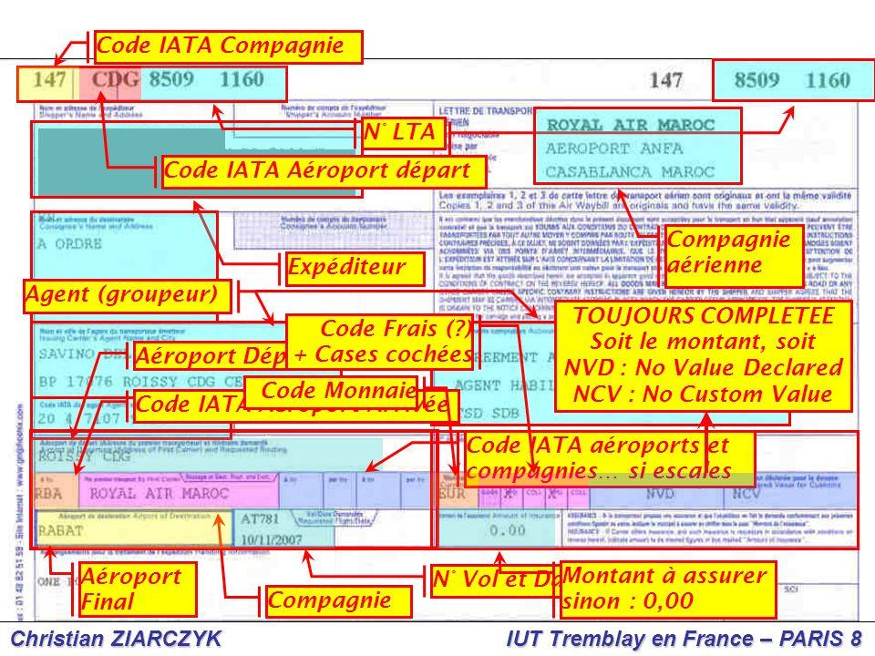 Christian ZIARCZYK IUT Tremblay en France – PARIS 8 Code IATA Compagnie Compagnie aérienne Expéditeur Agent (groupeur) Aéroport Départ Code IATA Aérop