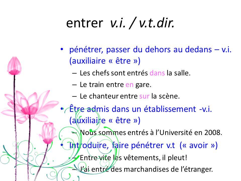 entrer v.i. / v.t.dir. pénétrer, passer du dehors au dedans – v.i. (auxiliaire « être ») – Les chefs sont entrés dans la salle. – Le train entre en ga