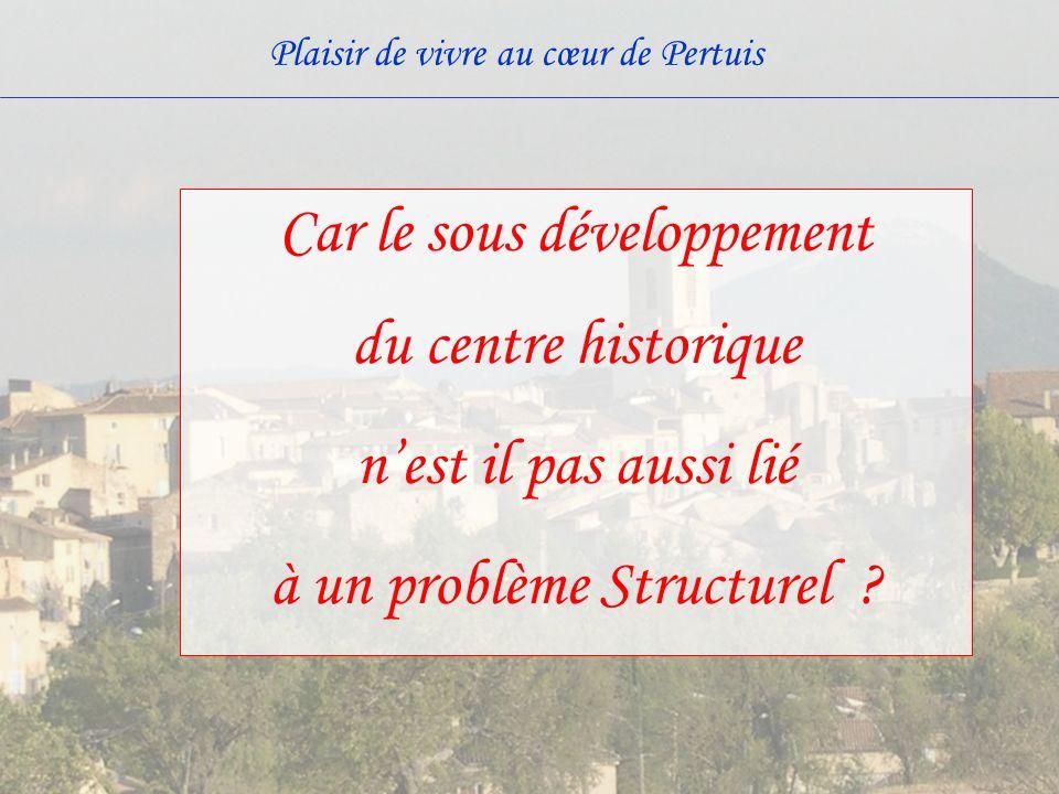 Plaisir de vivre au cœur de Pertuis Car le sous développement du centre historique nest il pas aussi lié à un problème Structurel ?