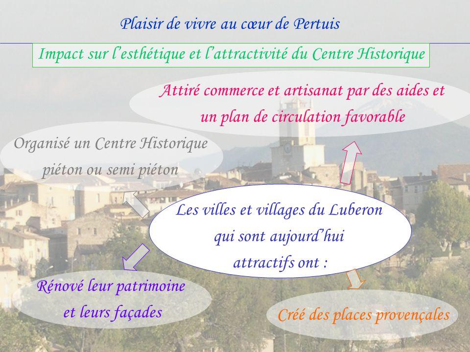 Plaisir de vivre au cœur de Pertuis Les villes et villages du Luberon qui sont aujourdhui attractifs ont : Organisé un Centre Historique piéton ou sem