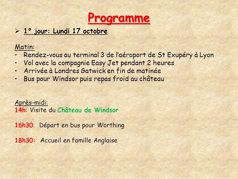 Programme 1° jour: Lundi 17 octobre Matin: Rendez-vous au terminal 3 de laéroport de St Exupéry à Lyon Vol avec la compagnie Easy Jet pendant 2 heures