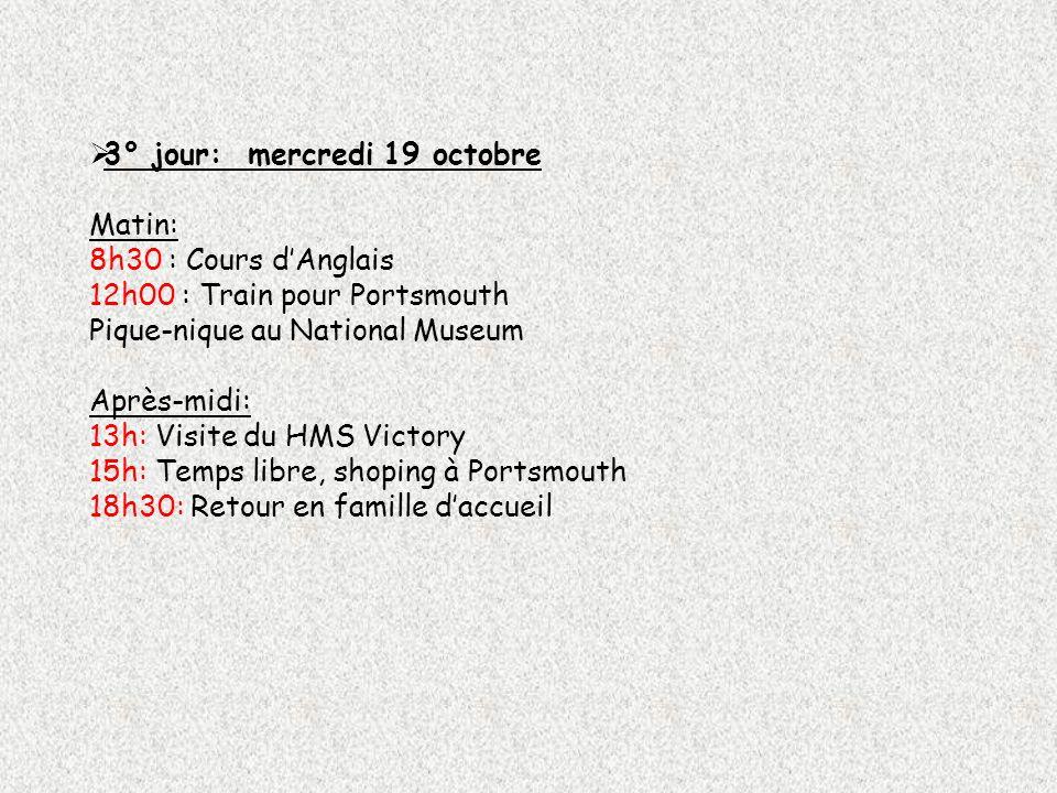 3° jour: mercredi 19 octobre Matin: 8h30 : Cours dAnglais 12h00 : Train pour Portsmouth Pique-nique au National Museum Après-midi: 13h: Visite du HMS