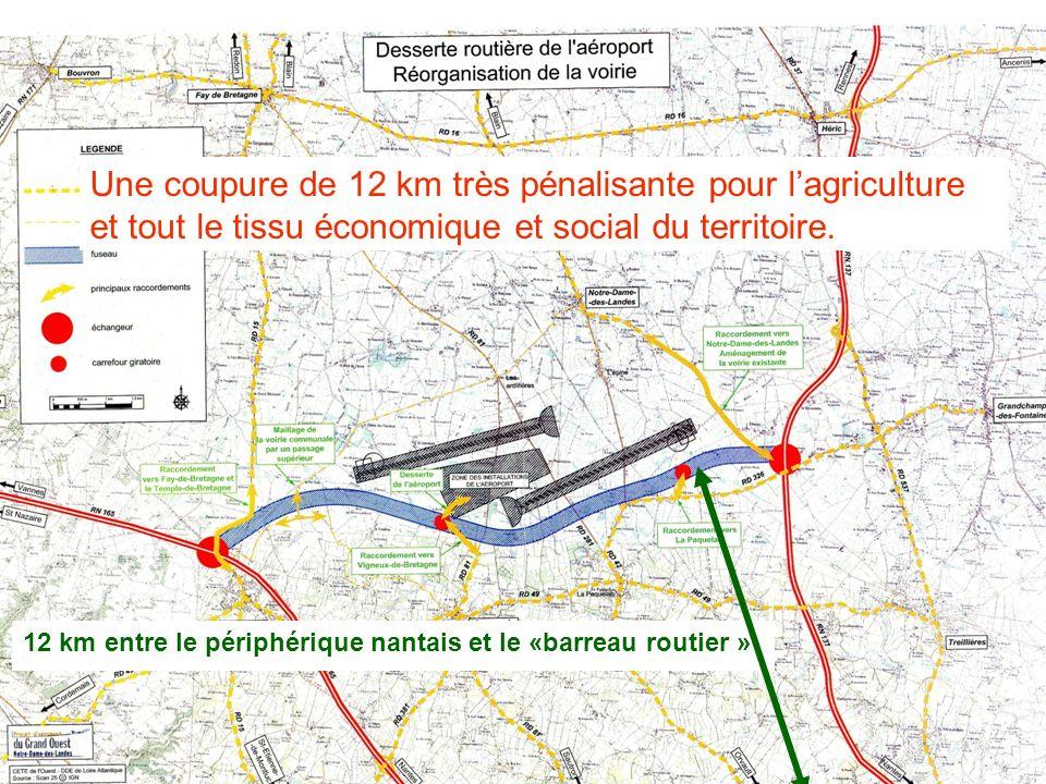 Une coupure de 12 km très pénalisante pour lagriculture et tout le tissu économique et social du territoire. 12 km entre le périphérique nantais et le