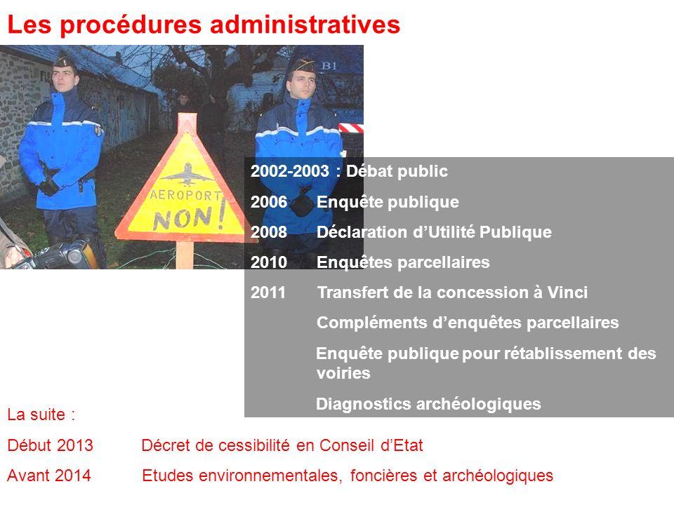 2002-2003 : Débat public 2006Enquête publique 2008Déclaration dUtilité Publique 2010Enquêtes parcellaires 2011 Transfert de la concession à Vinci Comp